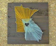 Connecticut and Tennessee with a heart over Knoxville for where Josh and I met!