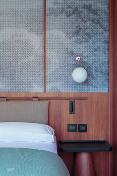 Patricia Urquiola Designs Idyllic Lake Como Hotel Il Sereno  Copper pipe headboard and graphic backdrop.