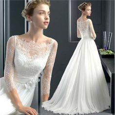豪華なレース長袖着痩せウエディングドレス花嫁ドレス二次会結婚式