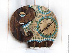 Часы для дома ручной работы. Ярмарка Мастеров - ручная работа. Купить Слон. Handmade. Коричневый, часы настенные, часы для дома