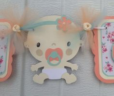 Its a girl banner, baby shower banner, baby shower decorations, etsy, handmade banner, nancysbannerboutique, peach, teal