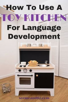 Kids play kitchens are fun and a great way to work on language and vocabulary building. Perfect for toddlers, preschoolers and school aged children! Click to learn about 5 awesome pretend play kitchens for kids and how they will help with your child's learning. #pretendplay #kidsactivities #speechtherapy