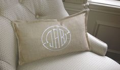 Monogram Pillow Cover / Tan-Latte Fabric / Natural-White Embroidery / 10x18 / Flange Edge