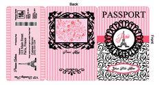 Paris Party: Passport Invitation Tri-Fold, Front Back & Boarding Pass