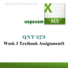 QNT 273 Week 3 Textbook AssignmentS (excel)