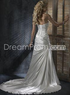 Gorgeous A-line Strapless Elastic Woven Satin Ruffle&Beading Wedding Dresses