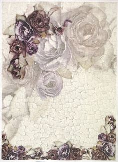 Ricepaper for Decoupage Decopatch Scrapbook Craft Sheet A/3 Roses on Crackle 3