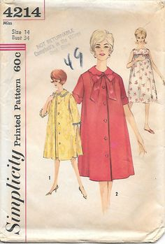 Simplicity 4214 UNCUT 1960s Misses Nightgown and Robes Vintage