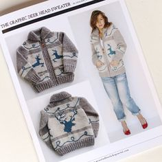 Image of Graphic Deer Head Sweater<br><font Cowichan inspired Knitting Kits, Knitting Yarn, Knitting Ideas, Knitting Projects, Knit Jacket, Knit Cardigan, Knit Sweaters, Cardigans, Cowichan Sweater