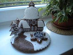 Vánoční kostelík Royal Icing, Sugar Cookies, Gingerbread, Birthday Cake, Desserts, Christmas, 3d, Houses, Tailgate Desserts