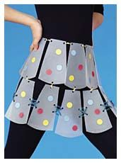 Plastic Party Skirt--make a mini one for River. It'll make a fun sound when she twirls/dances. Could do heart shaped panels....