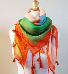 Womens MULTICOLOR scarf with tassels and by OriginalDesignsByAR, $15.00
