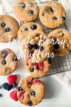 These Triple Berry Muffins have a perfectly tender crumb with bursts of all the fresh berries and taste like summer in every bite. Vegetarian Breakfast Casserole, Gluten Free Recipes For Breakfast, Brunch Recipes, Snack Recipes, Dessert Recipes, Snacks, Real Food Recipes, Cooking Recipes, Balanced Breakfast