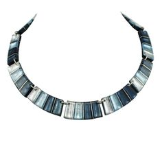 Calypso Ice Blue Silvered Resin Steel Necklace