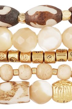 CHAN LUU Set of five gold-plated, bone and mother-of-pearl beaded bracelets £84.00 http://www.net-a-porter.com/products/572075