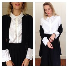 Vintage Eyelet Embroidered Detailed Blouse Victorian Style White Button Down Top Long Sleeves Classic Prarie Top Secretary Office Shirt by VannaVie on Etsy