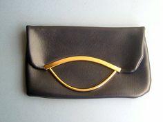 Vintage 1960s Navy Leatherette Handbag Bag by QueensParkVintage, $35.00