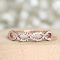 Wedding Rings Rose Gold, Rose Gold Engagement Ring, Bridal Rings, Wedding Bands, Rose Gold Stackable Rings, Gold Rings, Wedding Anniversary Rings, Or Rose, Metal Solid