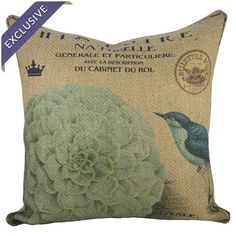 Accent your couch or loveseat with this eye-catching burlap pillow, featuring a bird and blooming floral motif.      Product: Pil...