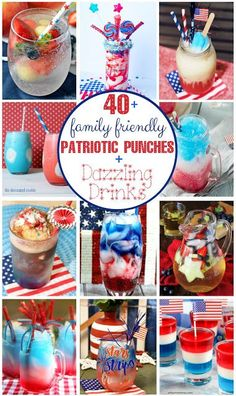 Find the perfect patriotic drink recipe in this roundup to mix up for your of July summertime parties and picnics! Easy Dinner Recipes, Holiday Recipes, Breakfast Recipes, Easy Meals, Dessert Recipes, Drink Recipes, Shawarma, Non Alcoholic Cocktails, Recipe For Mom