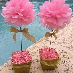 Hint of Gold// floral tissue paper pom pom topiary centerpiece Baby Shower/Bridal - Decoration For Home Topiary Centerpieces, Baby Shower Centerpieces, Baby Shower Decorations, Flower Decorations, Tissue Paper Decorations, Floral Centerpieces, Table Decorations, Papel Tissue, Tissue Paper Flowers
