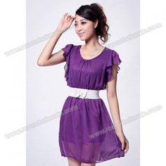 Wholesale Ladylike Scoop Neck Flouncing Short Sleeve Chiffon Dress For Women (PURPLE,ONE SIZE), Chiffon Dresses - Rosewholesale.com
