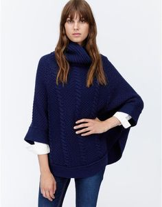 TESSA Cable Knit Poncho - Stylish Mother's Day Gifts
