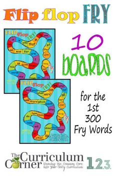 Flip Flop Fry Word Games for the first 300 words by The Curriculum Corner FREE print these out! Fry Words, Fry Sight Words, Sight Word Practice, Sight Word Games, Sight Word Activities, Reading Activities, Reading Games, Free Word Games, Word Reading
