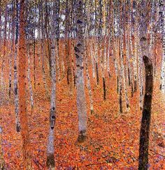 Gustav Klimt - Birch Forest I, 1902 // repetition rhythm, balance, rule of thirds (horizontal sections), contrast (orange leaves vs. blue-ish sky, trees), pattern
