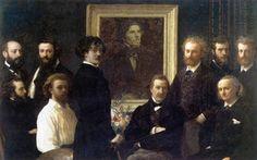 Omaggio a Delacroix (1864). Henri Fantin-Latour (francese, 1836-1904). Olio su tela. Musée d'Orsay.Writers e gli artisti sono raggruppati attorno ad un ritratto di Delacroix eseguito da una fotografia scattata dieci anni prima. Si può vedere se stesso Fantin-Latour, in una camicia bianca ed in possesso di un palette, James Whistler in piedi in primo piano, Edouard Manet con le mani in tasca e, naturalmente, Baudelaire, seduto sulla destra con un'espressione set sul suo volto .