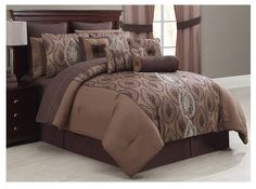 "Alcove ""Harlow"" 30 Piece Bedding Super Set in Brown - Queen #Alcove"