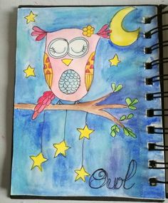 Owl drawriot2017 day14of365 Owl, Office Supplies, Watercolor Painting, Coloring Pages, Owls