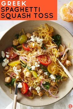 Spaghetti squash is a great lower-calorie, lower-carb alternative to pasta. It's a neutral tasting veggie that absorbs all the flavors of this simple skillet, so be sure to toss well to coat every strand. The end result is a veggie-based meal in a bowl that you can quickly throw together—a nice alternative to salads when you want to fill up on vegetables. | Cooking Light