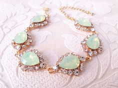 Mint Green Crystal Tennis Bracelet in Rose Gold, Yellow Gold, or Silver Plating for Art Deco Wedding Vintage Glam Custom Bridal Jewelry by dalfiya on Etsy