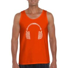 Los Angeles Pop Art Men's Tank Top - 63 Different Genres Of Music, Size: Medium, Orange