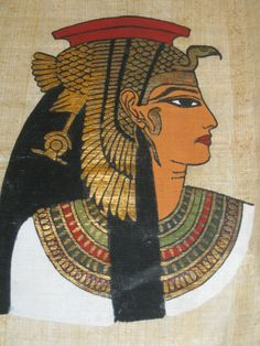 Cleopatra Painting on Egyptian Papyrus | Cleopatra VII ruled ancient Egypt as co-regent (first with her two younger brothers and then with her son) for almost three decades. She became the last in a dynasty of Macedonian rulers founded by Ptolemy, who served as general under Alexander the Great during his conquest of Egypt in 332 B.C.
