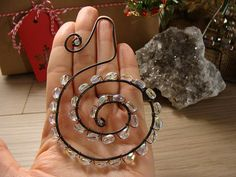 $18.00 Special Christmas Ornament. Handmade. Wire Wrapped Steel Spiral w/ Aurora Borealis Beads. One Of A Kind. Tree Ornaments. Mom Gift. Keepsake