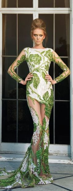 Just a pretty dress: Women's fashion | White and green lace evening gown