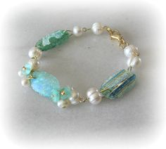Sea Green Glass Bracelet Roman Glass and by BakerStBoutique