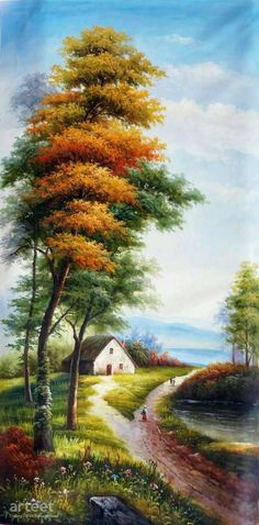 An Idyllic Landscape With A Cottage, Art Painting / Oil Painting For Sale - Arteet™ # Nature landschaft An Idyllic Landscape With A Cottage Art Paintings For Sale, Oil Painting For Sale, Beautiful Paintings, Oil Painting On Canvas, Beautiful Landscapes, House Painting, Painting Abstract, Painting Art, Landscape Art