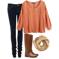 dark wash jeans - light orange open knit sweater - tan tube scarf - light brown leather boots