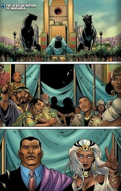 T'Challa Ororo(Panther and Storm Wedding). I'm sorry, but is that the Thundercats logo on the front of the building? - Visit to grab an amazing super hero shirt now on sale! Comic Book Characters, Marvel Characters, Comic Character, Comic Books, Black Panther Storm, Black Panther Marvel, Gi Joe, Storm Marvel, Storm Xmen