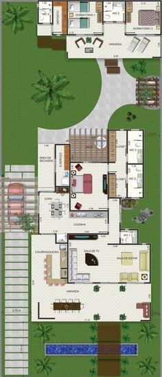 Projeto de casa térrea de 1 quarto com 133,12m²:
