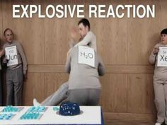 Chemical Party- single displacement, noble gases, carbon + 4 hydrogen bond, O2, H2O, water + potassium = explosive