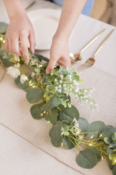 Ivory eucalyptus flower garland with lights supplies Off! Flower garland, artificial rose garland, wedding garland hanging wall décor, floral runner for wedding table décor, wedding party home flower backdrop Wedding Aisle Decorations, Wedding Centerpieces, Wedding Bouquets, Wedding Flowers, Wedding Garlands, Flower Garland Wedding, Birthday Decorations, Eucalyptus Garland, Eucalyptus Centerpiece