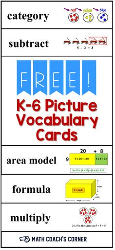 Download FREE vocabulary picture cards fro grades K-6. Aligned with CCSS.