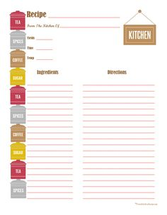Canister Recipe Card - Full Page