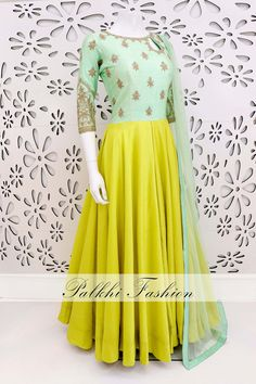 PalkhiFashion Exclusive Full Flair Mint Green Pure Silk Outfit with Elegant Top Hand Work