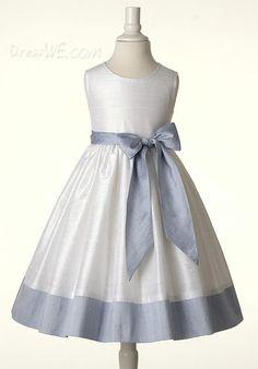 Dresswe.com SUPPLIES Cute Ball Gown Scoop Tea-length Sash Flower Girl Dress Flower Girl Dresses 2014