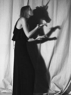 Black and white girl with unicorn shadow White Photography, Fashion Photography, Color Photography, Creative Photography, Portrait Photography, Yennefer Of Vengerberg, Last Unicorn, Shadow Play, Alter Ego